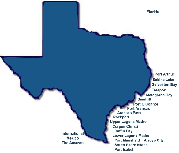 Texas saltwater fishing maps map of texas with cities for Fishing guide salary